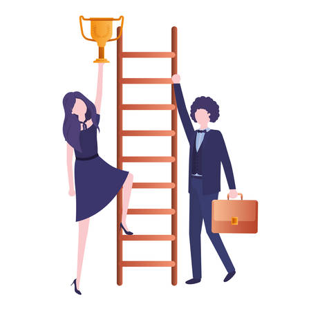 business couple with stair and trophy avatar character vector illustration desing Vectores
