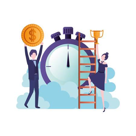 business women with set icons vector illustration design Illustration