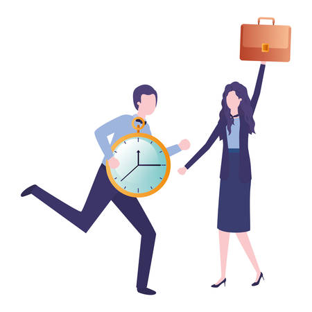 business couple with clock avatar character vector illustration desing Vectores