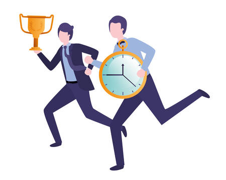 businessmen with clock and trophy avatar character vector illustration design Illustration