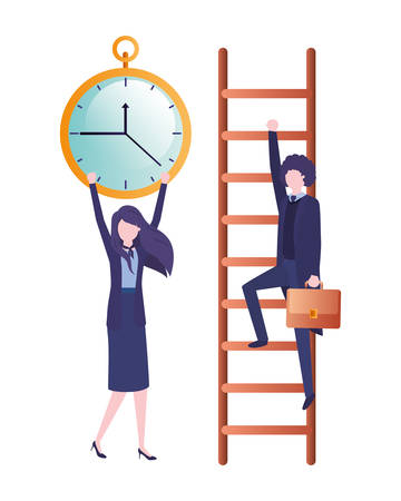 business couple with stair and clock avatar character vector illustration desing