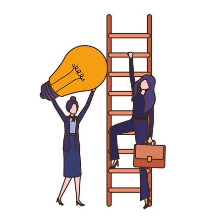 businesswomen with stair and light bulb avatar character vector illustration desing