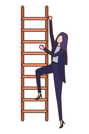 businesswoman with stair avatar character vector illustration desing