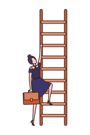 Geschäftsfrau mit Treppenavatar-Charakter-Vektor-Illustrationsdesign Vektorgrafik