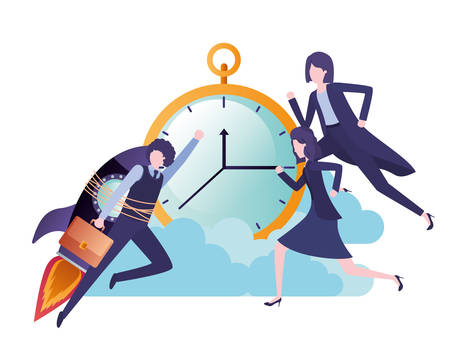 group of business with rocket and clock character vector illustration desing Illustration
