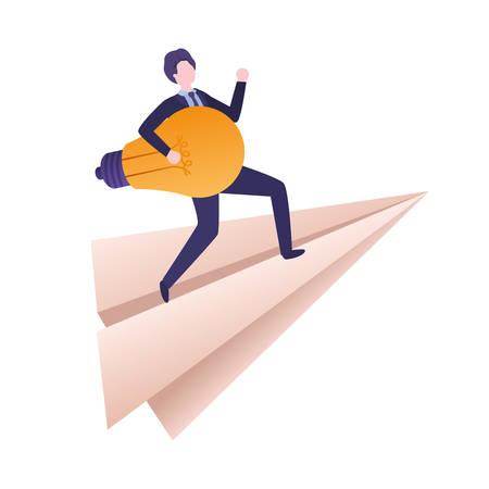 businessman on paper plane and light bulb vector illustration desing Иллюстрация