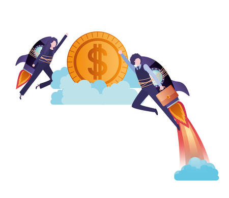 business couple with rocket and coin character vector illustration desing 向量圖像