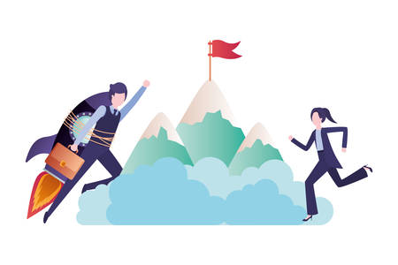 business couple with mountain vector illustration desing Ilustração Vetorial
