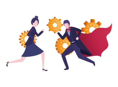 business couple with gear avatar character vector illustration desing