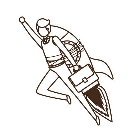 businessman with rocket avatar character vector illustration desing Illustration