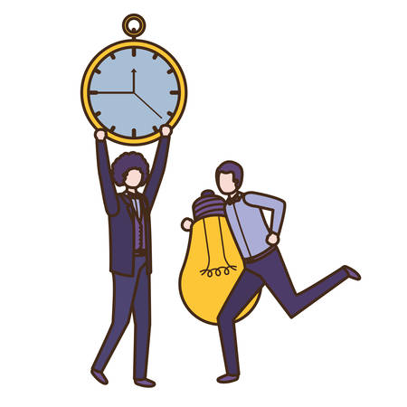 businessmen with clock and light bulb character vector illustration desing