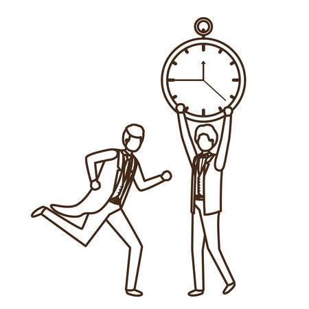 businessmen with clock avatar character vector illustration desing
