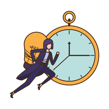 businesswoman with clock and light bulb character vector illustration desing