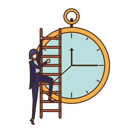 Geschäftsfrau mit Treppen- und Uhr-Avatar-Charakter-Vektor-Illustrationsdesign Vektorgrafik