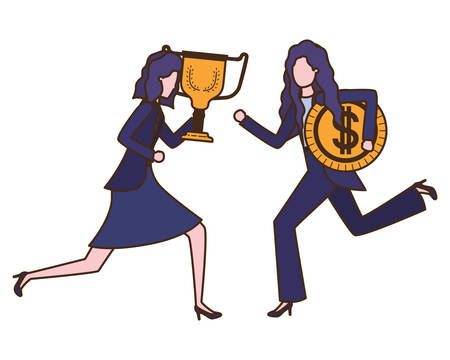 businesswomen with trophy and coin character vector illustration desing