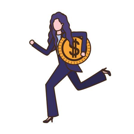 Geschäftsfrau mit Dollarzeichen-Avatar-Charakter-Vektor-Illustrationsdesign