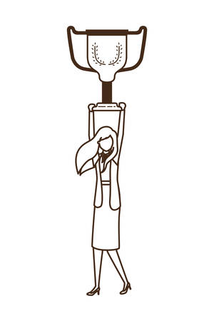 businesswoman with trophy avatar character vector illustration desing