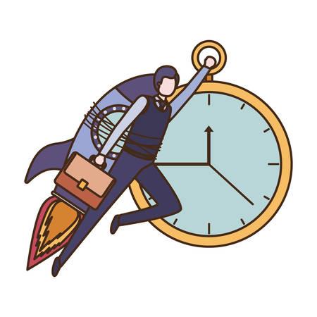 businessman on rocket and clock avatar character vector illustration desing