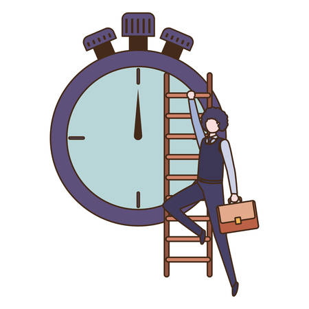businessman with stair and clock avatar character vector illustration desing