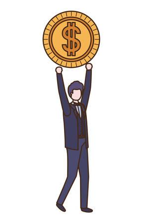Geschäftsmann mit Dollarzeichen-Avatar-Charakter-Vektor-Illustrationsdesign