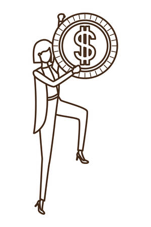 businesswoman with dollar sign avatar character vector illustration desing