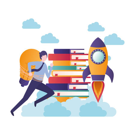 businessman running with stack of books avatar character vector illustration design