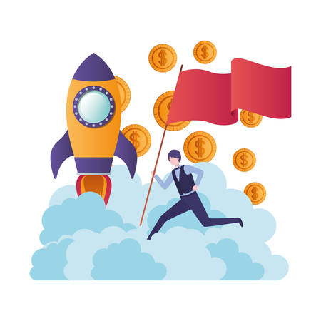 businessman running with flag and flying rocket vector illustration desing