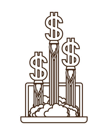 latop screen with dollar rocket isolated icon vector illustration desing