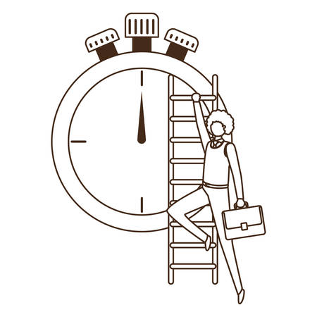 businessman with stair and clock avatar character vector illustration design