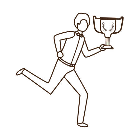businessman with trophy avatar character vector illustration desing