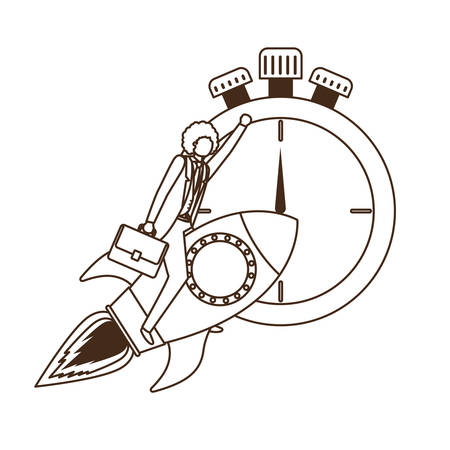 businessman on rocket and clock avatar character vector illustration design