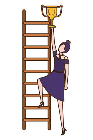 businesswoman with stair and trophy avatar character vector illustration desing