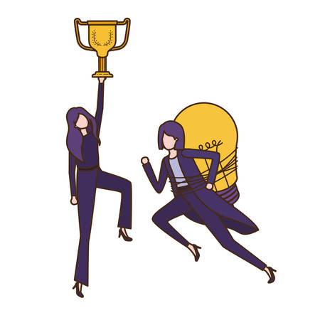 businesswomen with trophy and light bulb character vector illustration desing