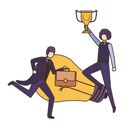 businessmen with trophy and light bulb character vector illustration desing Illustration