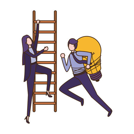 business couple with stair and light bulb avatar character vector illustration desing