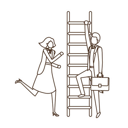 business couple with stair avatar character vector illustration desing