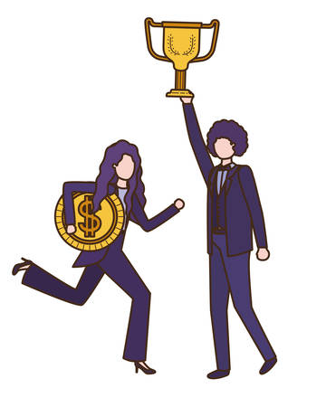 business couple with trophy and coin character vector illustration desing Vetores
