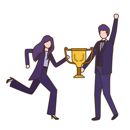 business couple with trophy avatar character vector illustration desing 일러스트
