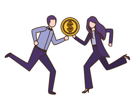 business couple with dollar sign avatar character vector illustration desing Illustration