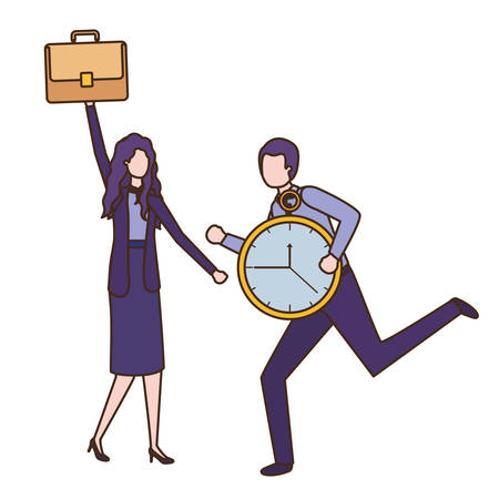 business couple with clock avatar character vector illustration desing Ilustração