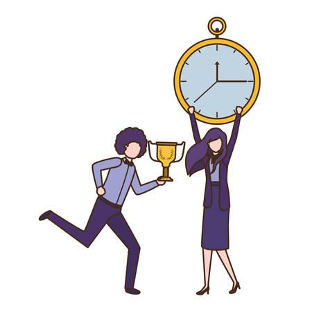 Couple d'affaires avec réveil et trophée avatar caractère vector illustration design