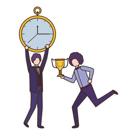 businessmen with clock and trophy avatar character vector illustration design Stock Illustratie
