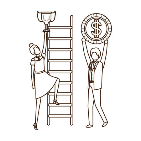 business couple with dollar sign and stair vector illustration desing Ilustração