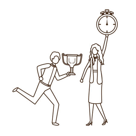 business couple with clock and trophy avatar character vector illustration design