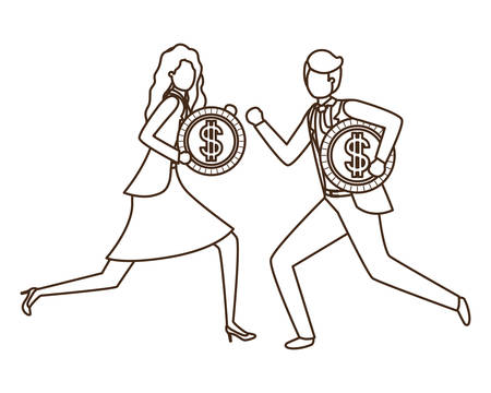 business couple with dollar sign avatar character vector illustration desing