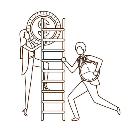 business couple with dollar sign and stair vector illustration desing