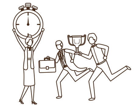 group of business with clock and trophy avatar character vector illustration design