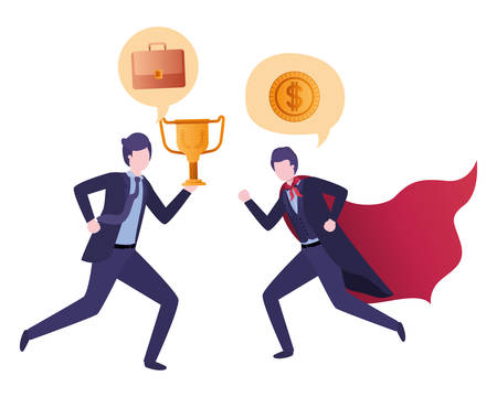business couple with hero cape and speech bubble vector illustration design