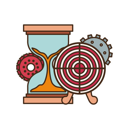 target shot with hourglass isolated icon vector illustration design Çizim