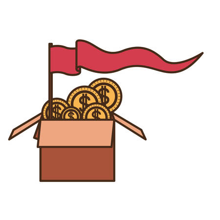 cardboard box with coins isolated icon vector illustration design Illustration